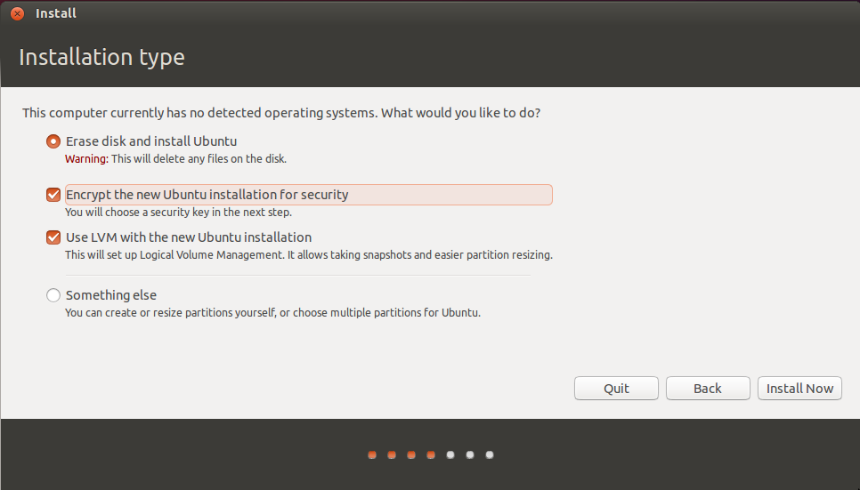 Ubuntu installation type encrypted
