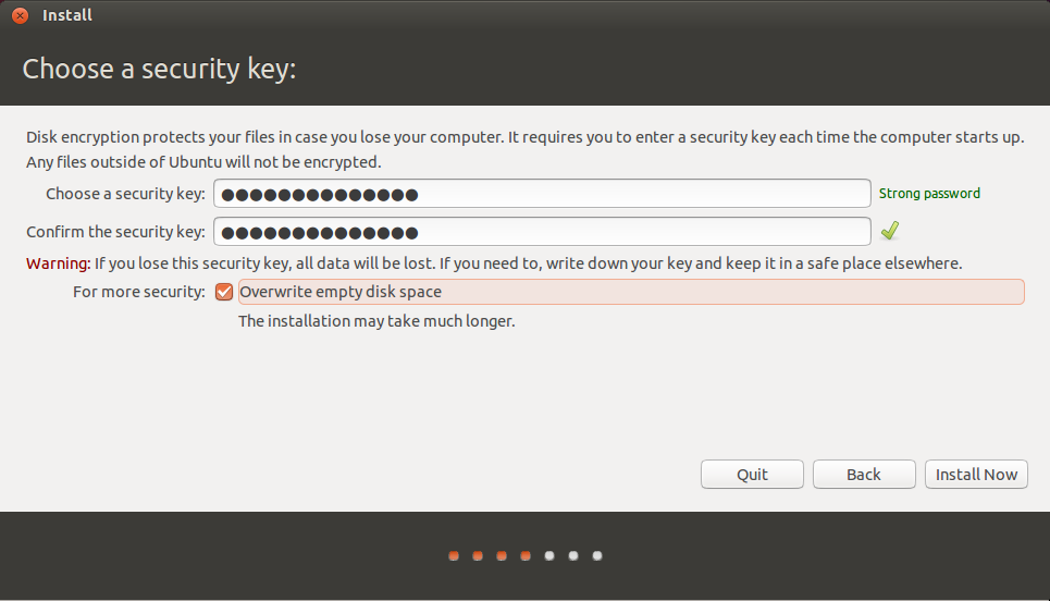 Ubuntu security key
